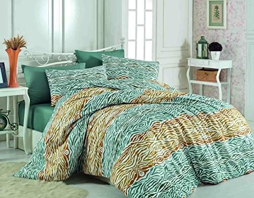 LaModaHome 3 Pcs Colored Bedroom Ranforce 100% Cotton Ranforce Double Quilt Duvet Cover Set Leopard Wild Animal Green And Brown Pattern Design Queen, Full and Bed Size