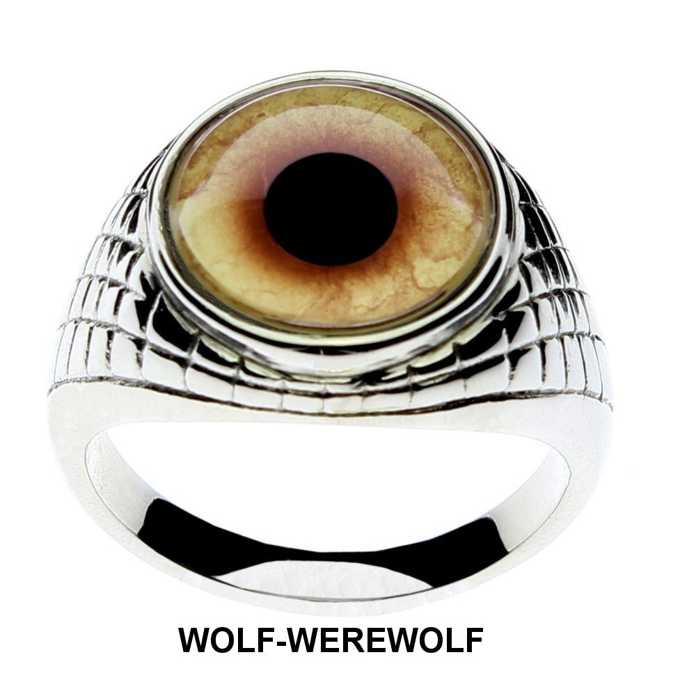 Steel Dragon Jewelry Men's Wolf-Werewolf Glass Eye Ring in an Egyptian-Inspired Setting by (Wolf, 8) by Steel Dragon (Image #6)