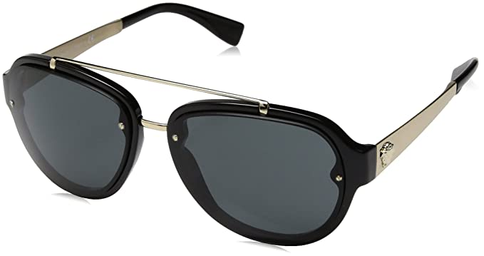 41daaeac5b0 VERSACE Men s 4327 0VE4327 GB1 87 57 Sunglasses Black Grey  Amazon ...