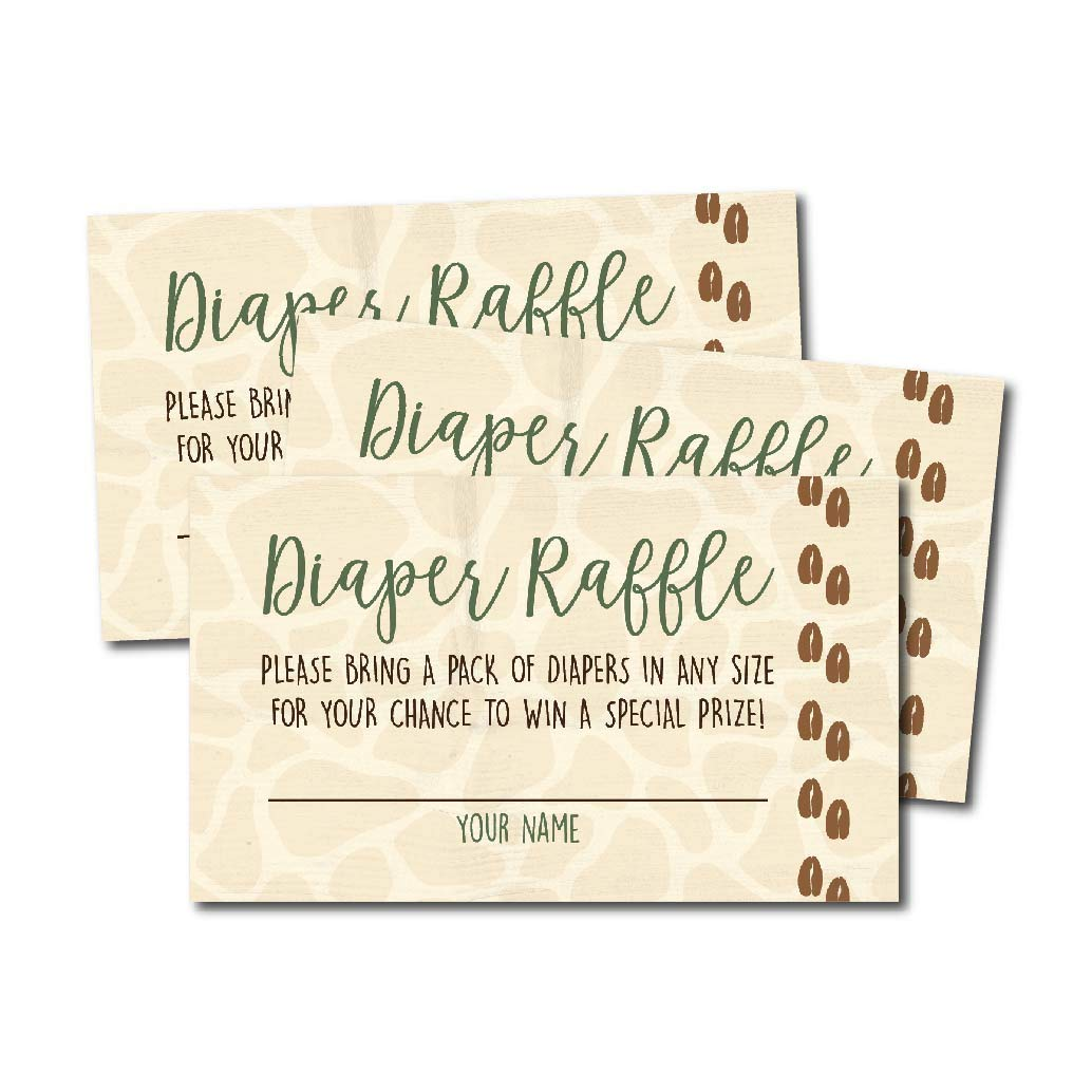 25 Giraffe Diaper Raffle Ticket Lottery Insert Cards for Girl or Boy Baby Shower Invitations, Supplies and Games for Neutral Gender Reveal Party, Bring a Pack of Diapers to Win Favors, Animal Theme Hadley Designs