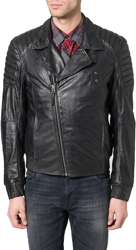 New Men Leather Jacket Black Soft Cowhide Motorcycle Bomber Party Jacket KC318