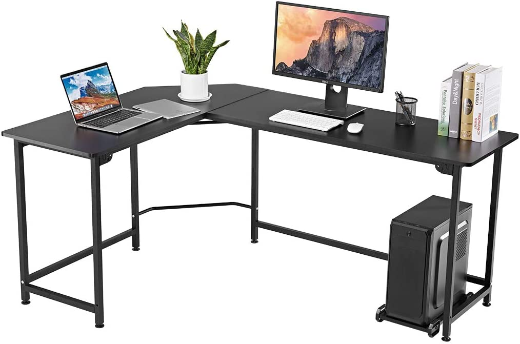 LANGRIA Modern L-Shaped Computer Desk with CPU Stand, Wood and Metal Large Corner Workstation Table with Thick and Sturdy Tabletop and Leveling Feet, Max Load 132 lbs, for Home and Office Use Black