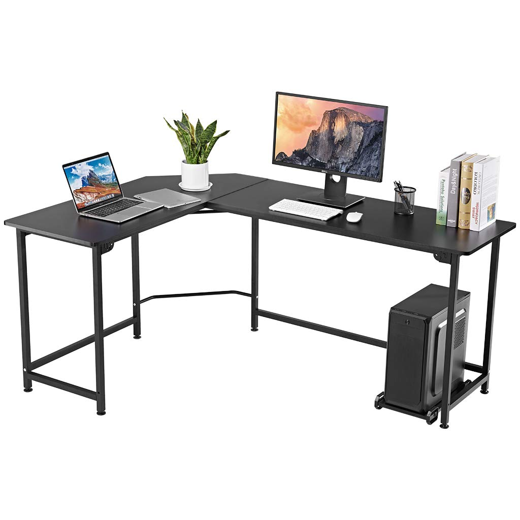 LANGRIA L-Shaped Wood and Metal Computer Desk with CPU Stand, Large Corner Workstation Table with Thick and Sturdy Tabletop and Leveling Feet, Max Load 132 lbs, for Home and Office Use (Black)