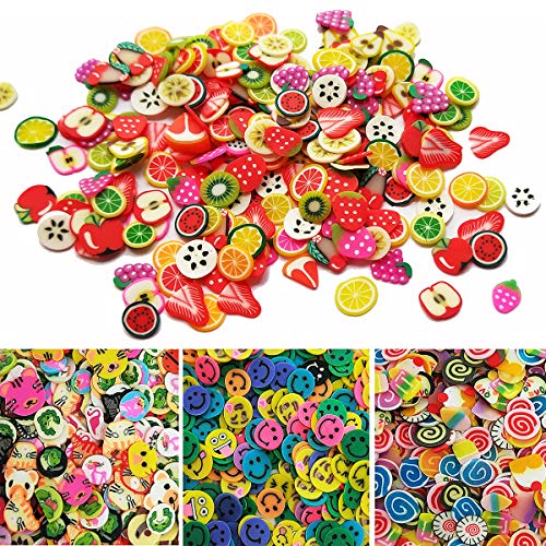 Czorange 5000 Pcs Tiny Slime Charms Cute Set - 3D Polymer Fimo Slices DIY Nail Art Slim Supplies Glamour Makeup Kits Art Deco Crafts, Polymer Clay for Craft Making (Fruit, Cake, Animal, Smile)