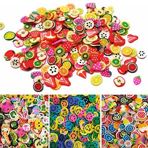 - Czorange 5000 Pcs Tiny Slime Charms Cute Set - 3D Polymer Fimo Slices DIY Nail Art Slim Supplies Glamour Makeup Kits Art Deco Crafts, Polymer Clay for Craft Making (Fruit, Cake, Animal, Smile)