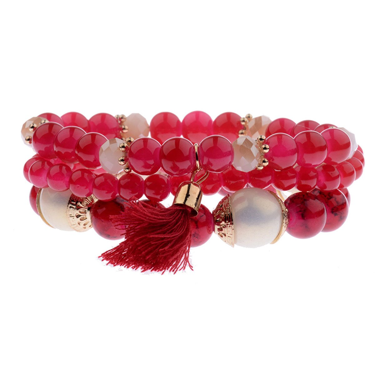 GVUSMIL Spring Summer Fashion Women's Bracelet Set 3Pcs/Lot Charm Beads Bracelet Jewelry For Ladies (Red, Natural stone)