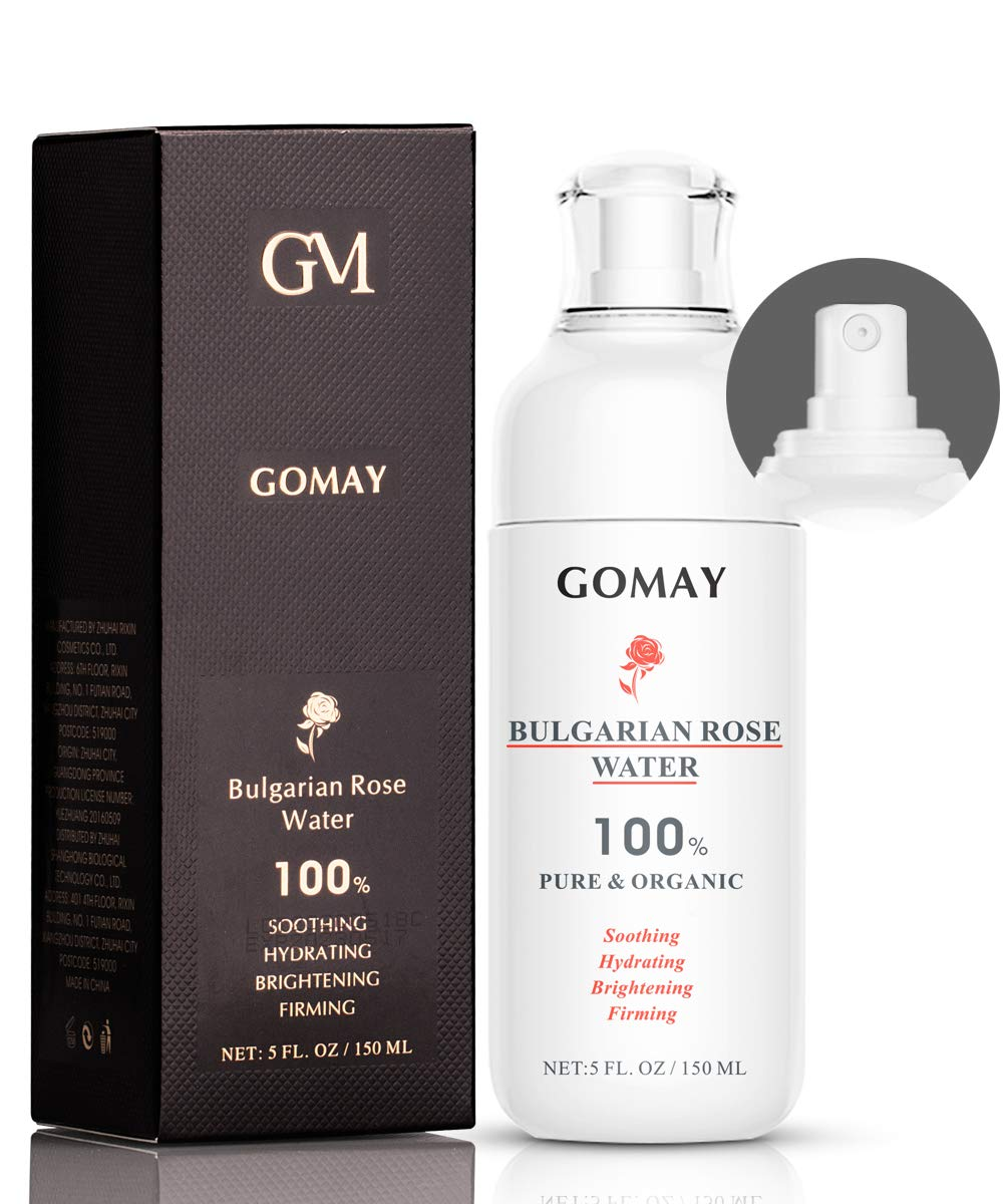 Go May Rose Water Spray, 100% Pure Natural Facial Toner, Organic Rosewater, Alcohol Free, Hydration and Brighten Skin