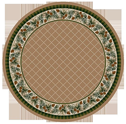 KENSINGTON ROW LAKE AND LODGE COLLECTION AREA RUGS -PINE CREEK PINECONE BORDER RUG - 8' ROUND RUG - SANDSTONE - LODGE - Pinecone Area Round 8' Rug