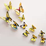 12 Pieces 3D Butterfly Stickrs Fashion Design DIY Wall Decoration House Decoration Babyroom Decoration-YELLOW