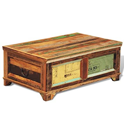 Anself Reclaimed Wood Coffee Table Storage Box Vintage Antique Style
