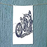 SOCOMIMI Soft Luxury Towel Rider on The Chopper Illustration Hand Drawn Pattern Decorative Design Black and White Absorbent Ideal for Everyday use