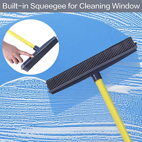Push Broom - Soft Bristle 59'' Rubber Broom Carpet Sweeper with Squeegee Adjustable Long Handle, Removal Pet Human Hair by NZQXJXZ (Image #5)