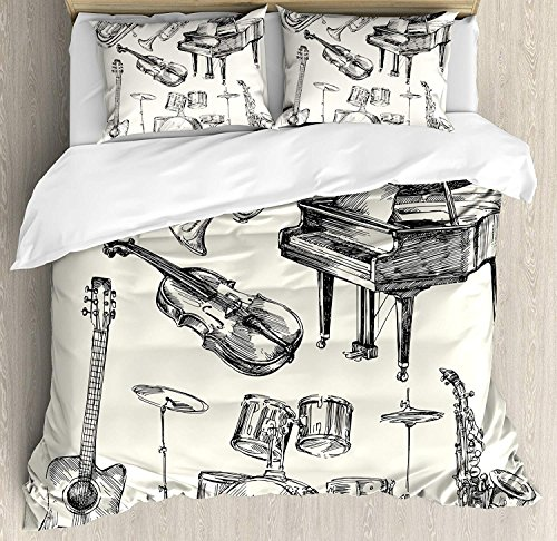 Jazz Music Comforter Set, Collection of Musical Instruments Sketch Style Art with Trumpet Piano Guitar Design Bedding Set 4 Piece Duvet Cover Set Includes 2 Pillow Shams, Beige Black Full Size