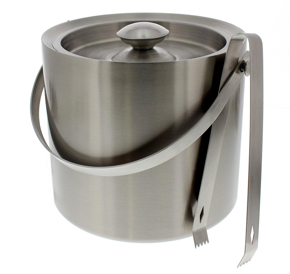 Juvale Stainless Steel Ice Bucket - Portable Double Wall Ice Bucket Tong, Barware, Serveware Party, Event Gathering, 7.5 x 7.5 inches COMINHKPR98996