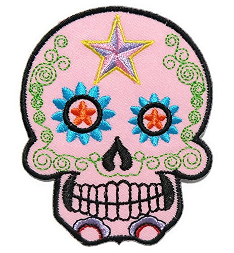 Disney Mix Max Ice (Light pink Skull Iron on Patch Embroidered Sewing for T-shirt, Hat, Jean ,Jacket, Backpacks, Clothing)