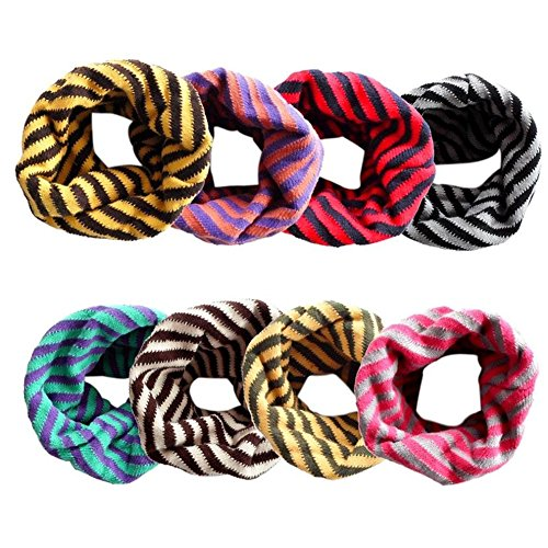 Review SEADEAR Classic Striped Autumn Winter Infinity Loop Scarf Scarves Neck Warmers Circle Scarf for Kids Baby Girls Boys Toddlers Yellow