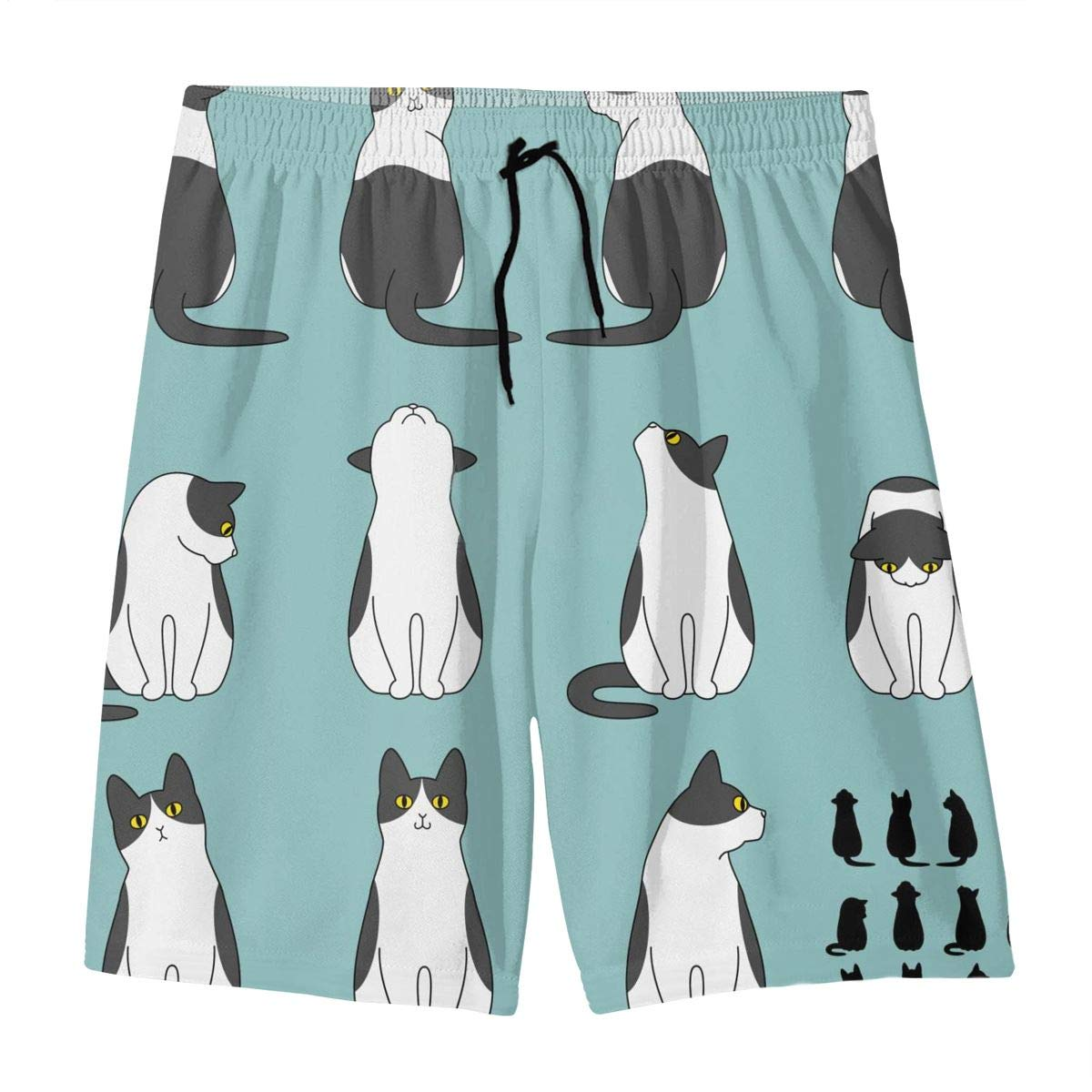 Mens Swim Trunks Set of Cat Sitting Poses Printed Beach Board Shorts with Pockets Cool Novelty Bathing Suits for Teen Boys