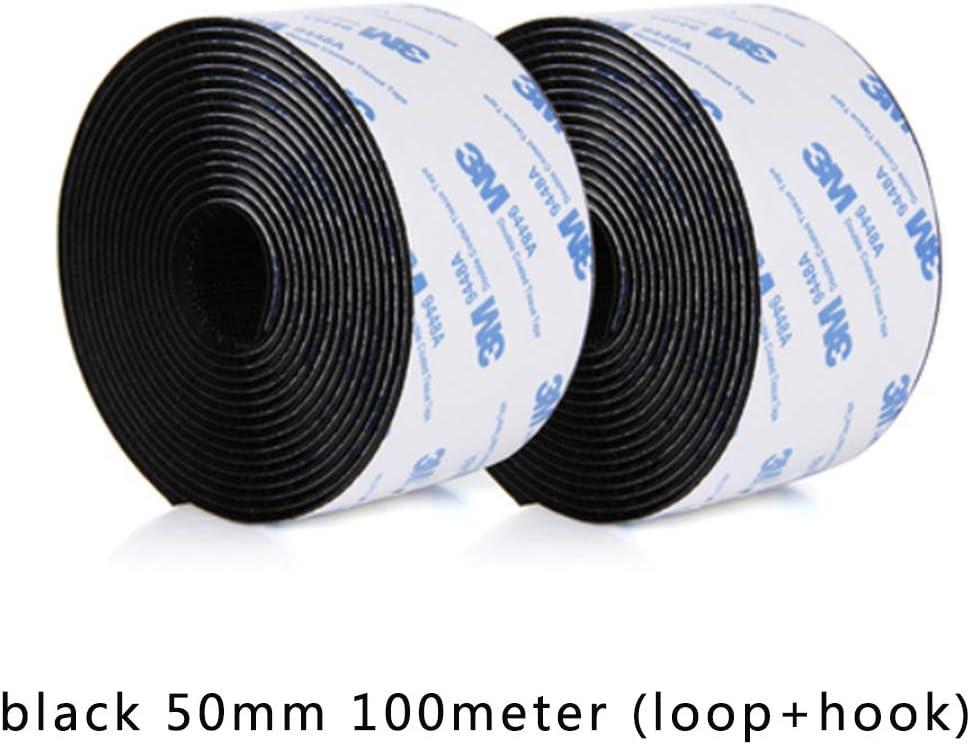 50mm FOUWE 100 metros//pares Fuerte autoadhesivo Cinta de sujeci/ón de gancho y lazo Cinta adhesiva de nylon velcros adhesivo con pegamento para bricolaje 20//25//30//38