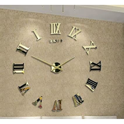 Amazoncom Large size wall clock3d stereo diy silent clock