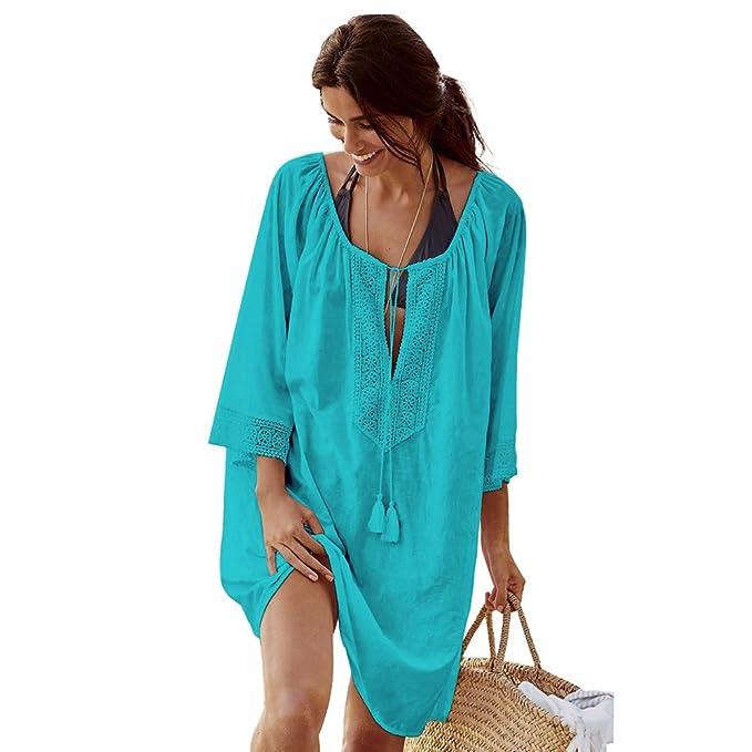 Landove Vestido de Playa Encaje V-Cuello Traje Ropa de Baño para Mujeres Camiseta Manga