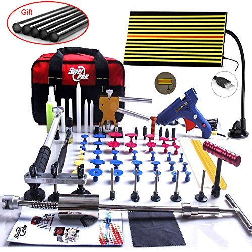 Super PDR 67pcs LED Reflector Line Boder Paintless Dent Repair Tool Kits 2in1 Slide Hammer Golden Dent Lifter Tap Down Tips