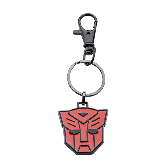 Hasbro Jewelry Unisex Adult Transformers Base Metal & Black IP Autobot Logo Key Chain, Black/Red, One Size