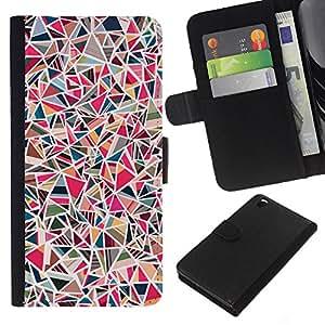 Planetar® Modelo colorido cuero carpeta tirón caso cubierta piel Holster Funda protección Para HTC DESIRE 816 ( Art Shapes Geometric Girly Pink )