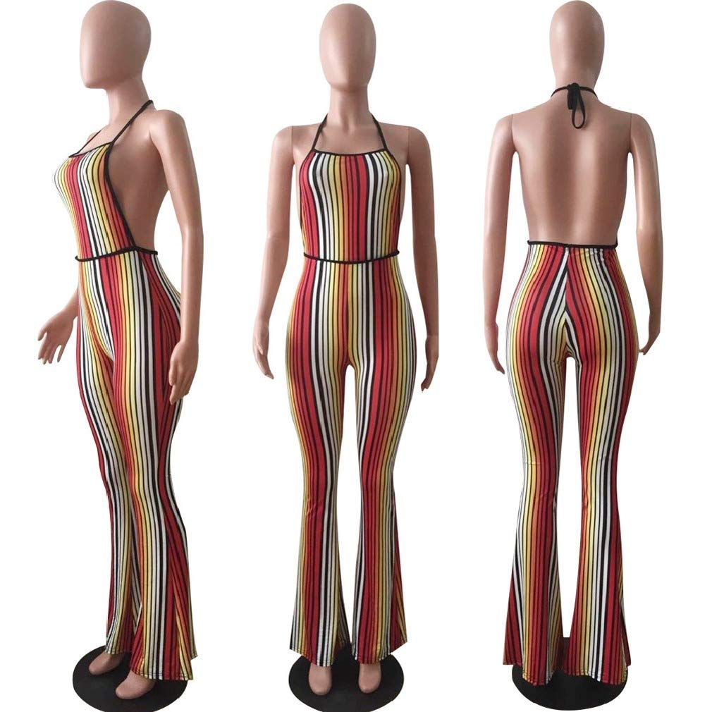 Women Stripes Backless Bootcut Halter Jumpuits and Rompers