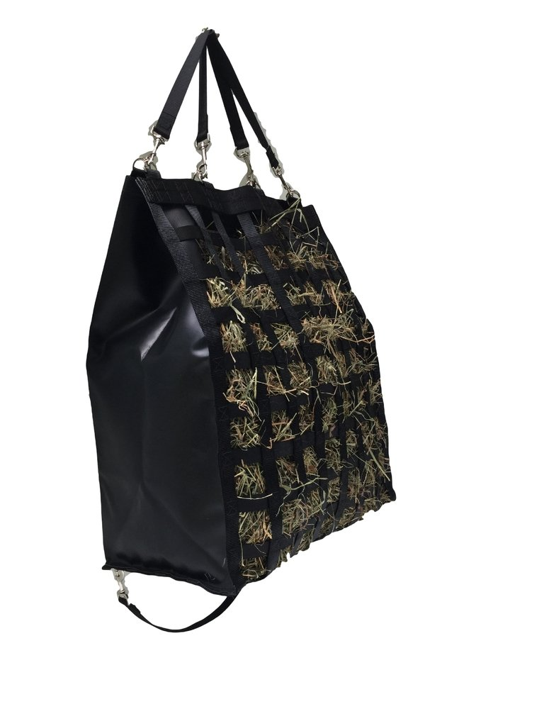 "The Original NibbleNet 12""XL deep w/ 2"" Slow Feed Hay Bag by Thin Air Canvas, Inc. = Black"