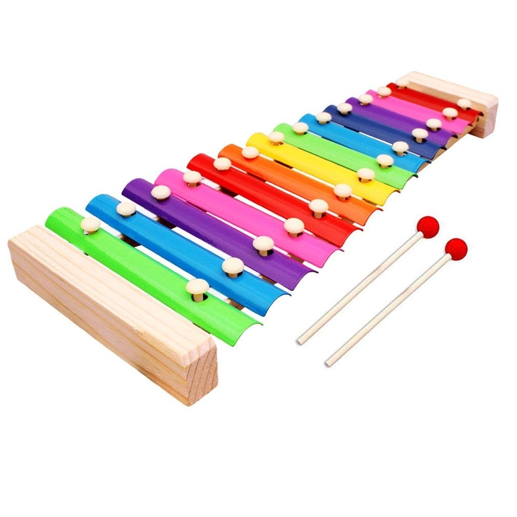 Natural Wooden Toddler Xylophone Glockenspiel For Kids with Multi-Colored for Kids Educational Development Musical Toy with Two Wooden Mallets and Colorful Clear Sounding Metal Keys, Perfectly 13 Tone