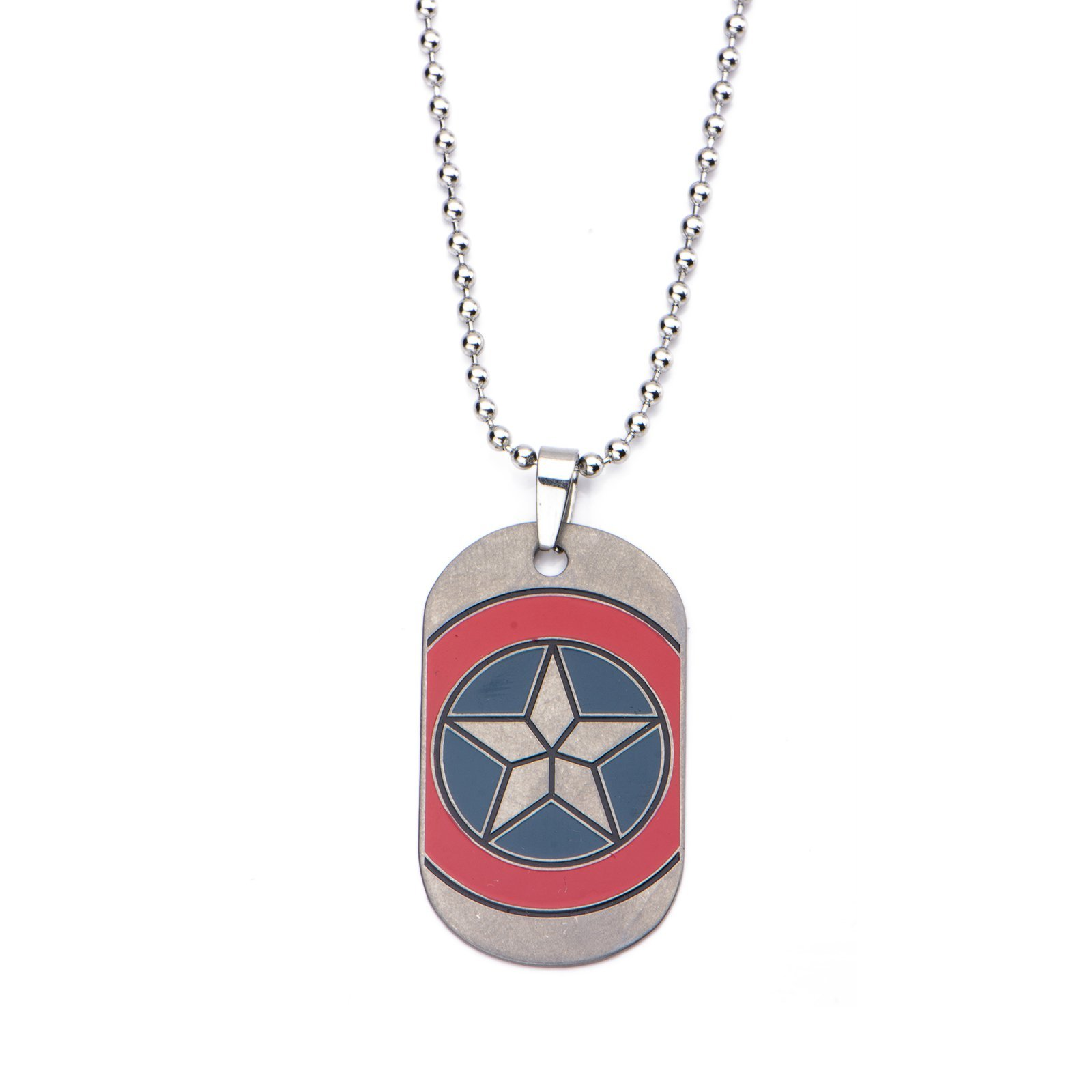 Marvel Captain America Civil War Shield Emblem Dog Tag Stainless Steel Necklace