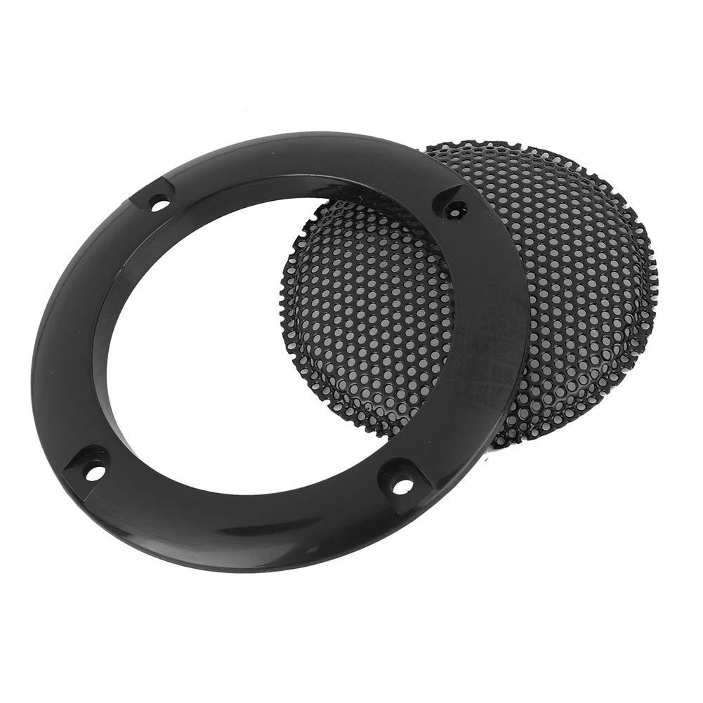 Negro Negro, Plateado Tosuny 2 Pzs Rejillas de Altavoz 2 Estuche Cubierta Parrilla Redonda Altavoz Protector c/írculo Decorativo Accesorios de Audio