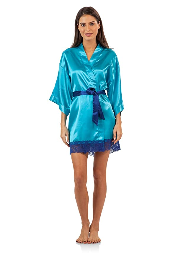 ff9d4ede8b Ashford   Brooks Women s 3 Piece Satin Robe and Pajama Set at Amazon Women s  Clothing store
