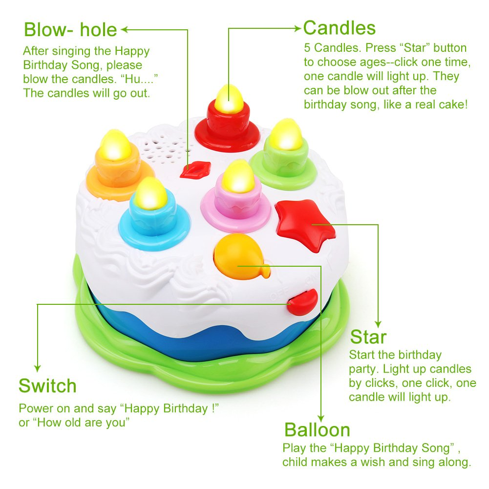 Amy Benton Kids Birthday Cake Toy For Baby Toddlers With Counting Candles Music Gift Toys 1 2 3 4 5 Years Old Boys And Girls