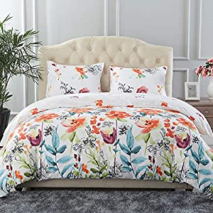 Jml Duvet Cover, Luxury Soft Brushed Microfiber 3 Piece Duvet Cover Queen Size with Zipper Closure Tie - Reversible Floral Boho Pattern Hypoallergenic Bedding Set, White Floral