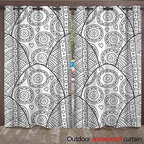 RenteriaDecor Outdoor Balcony Privacy Curtain Easter Eggs Black and White Seamless Pattern for Coloring Books Pages Vector W72 x L84