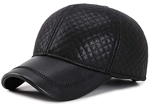 0ea64c06481699 Yooeen Unisex Baseballcap Leder Wasserdicht Verstellbar Winter Warm Basecap  Schirmmützen Golf Cap für Herren Damen mit