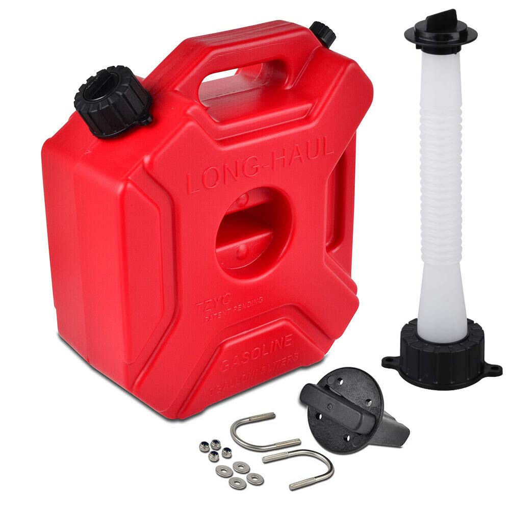 ORANDESIGNE Gas Can - 1.3 Gallon Plastic Gas Container Portable Storage with Pack Mount & 2 Replacement Pour Spouts Emergency Backup Fuel for Motorcycle SUV ATV Dirt Bike Car BoatVehicle, Red (5L)