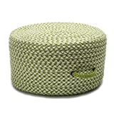 Colonial Mills Braided Round pouf/ottoman 20''x20''x11'' in Lime Green Color From Houndstooth Pouf Collection