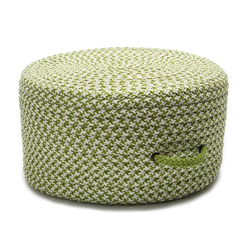 Colonial Mills Braided Round pouf/ottoman 20''x20''x11'' in Lime Green Color From Houndstooth Pouf Collection by Colonial Mills