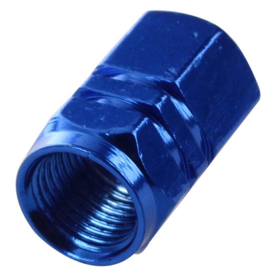 SODIAL Auto Voiture Bleu Fonce Metal Pneu Vanne Couvertures Bouchons 4 Pcs R