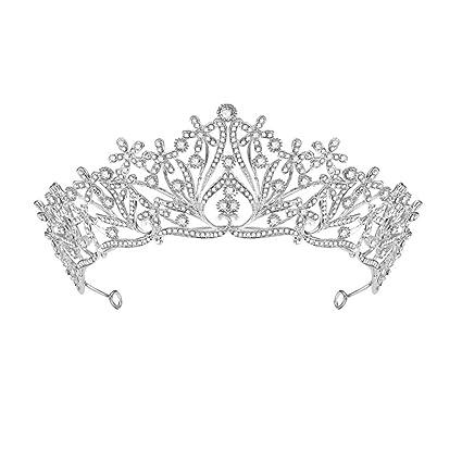 Shuda - Tiara de plata para novia, corona para adultos ...