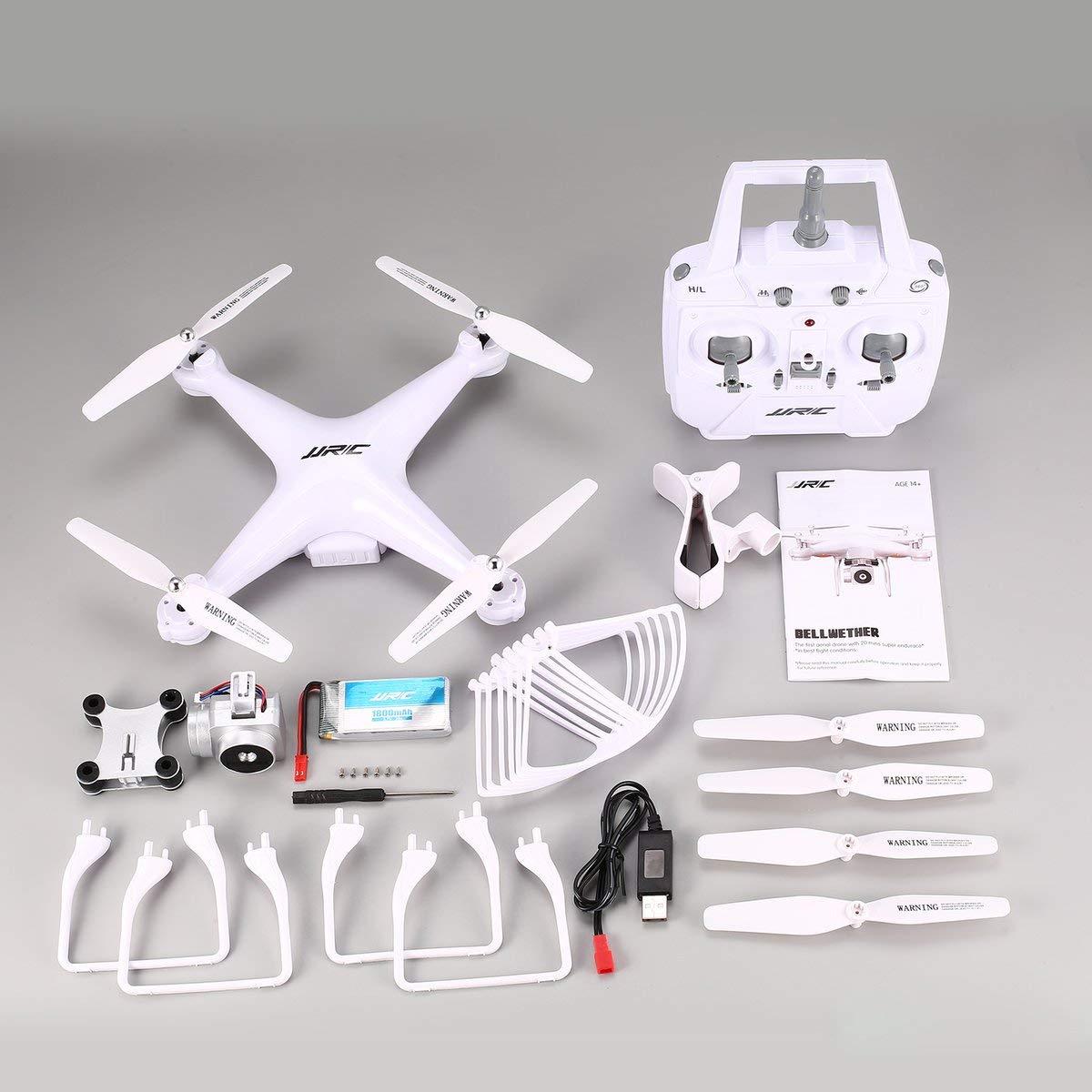 Gugutogo JJR/C H68 RC Aviones no tripulados 2.4G FPV RC Quadcopter Aviones no tripulados con la cámara HD 720P Altitud Hold sin Cabeza Modo Flip 3D-duración 20 Minutos de Vuelo Blanco