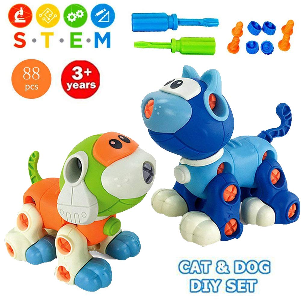 Liberty Imports Take Apart Toys, Cat & Dog Models STEM Building Blocks | Kids DIY Creative Educational Construction Engineering Kit with Screwdriver (88 Pieces)