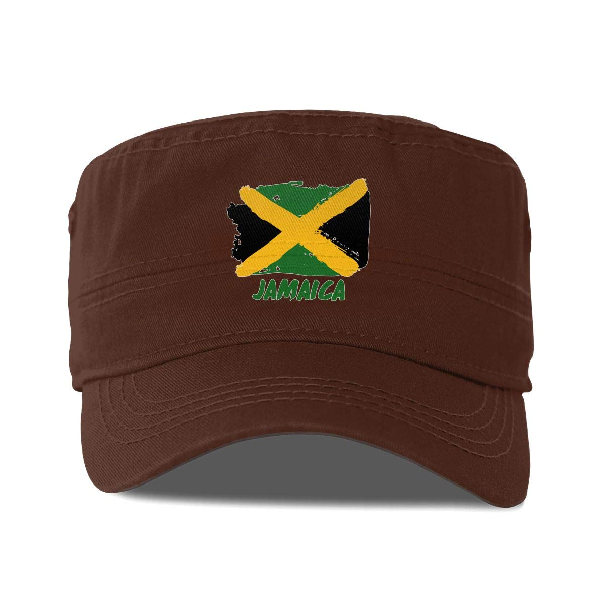 Jamaican Flag Unisex Adult Cotton Military Army Cap Flat Top Hat