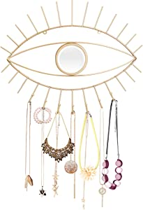 Jewelry Organizer Wall Mounted with 7 Hooks and Mirror for Necklaces,Bracelets,Earrings,Rings-Eye Shaped