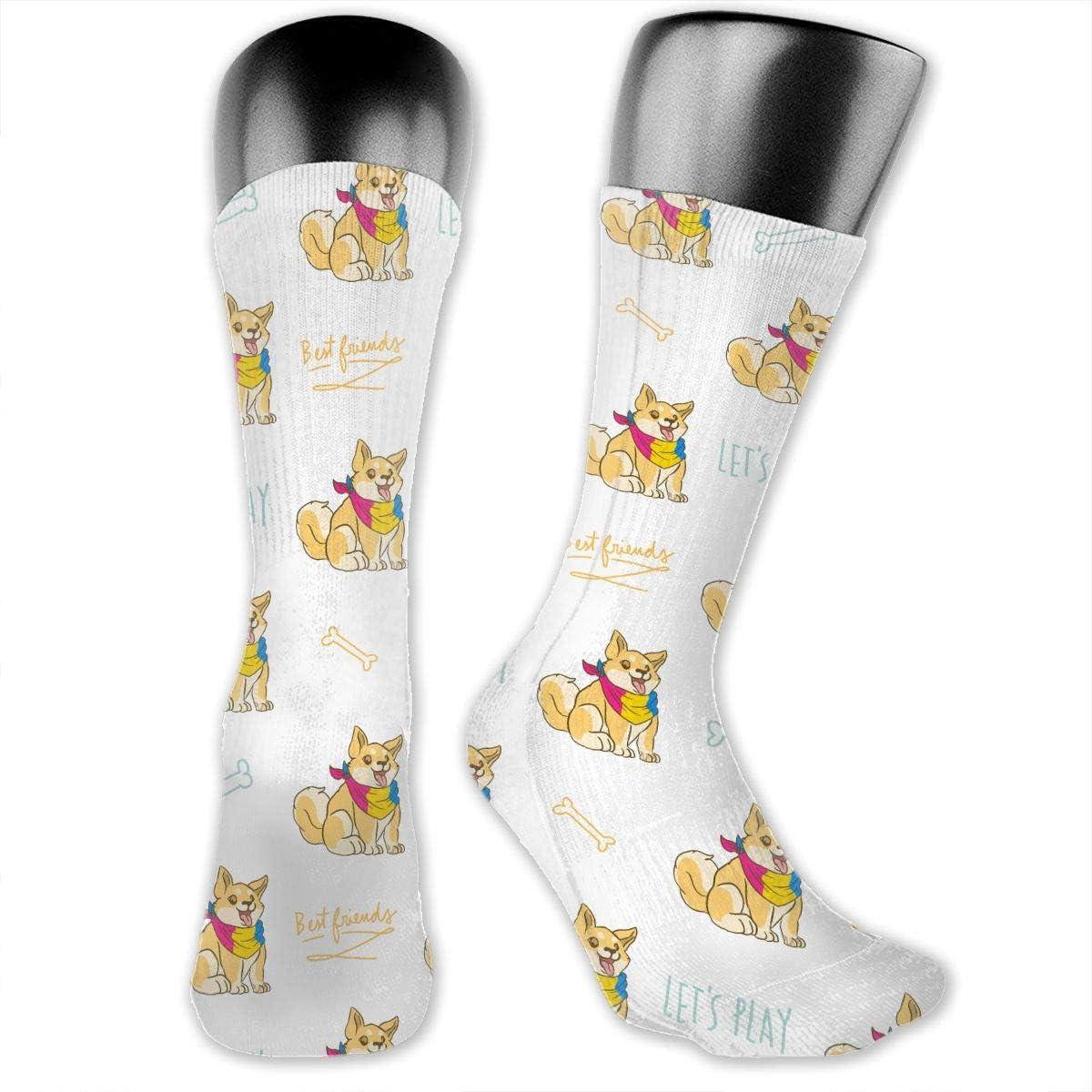 Casual Shiba Inu Pansexual Pride Socks Cotton Dress Socks For Men Women