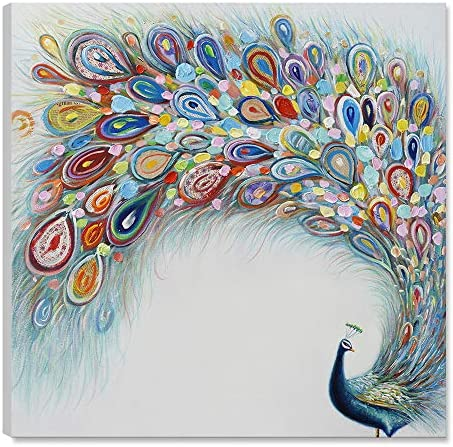 7CANVAS-Hand Painted Peacock Oil Painting Wall Art- Modern Animal Wall Decor Stretched Canvas Art Wall Decoration for Living Room Bedroom Decor 24×24 Inch