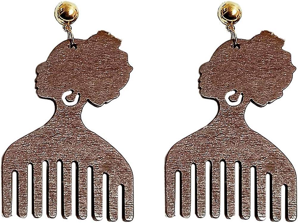 Zonfer 1 Paire Afrocentrique Boucles doreilles Femmes T/ête Forme Peigne en Bois Boucles doreilles G/éom/étriques Bijoux Cadeaux doreille
