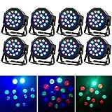 Missyee Stage lights 8 Piece Up-Lighting - Full RGB Color Mixing LED Flat Par Can - 18 LEDs per light - RGB color mixing-Danging Floor Lighting( 8 pack )